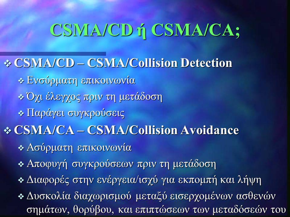 CSMA/CD ή CSMA/CA;  CSMA/CD – CSMA/Collision Detection  Ενσύρματη επικοινωνία  Όχι έλεγχος πριν τη μετάδοση  Παράγει συγκρούσεις  CSMA/CA – CSMA/