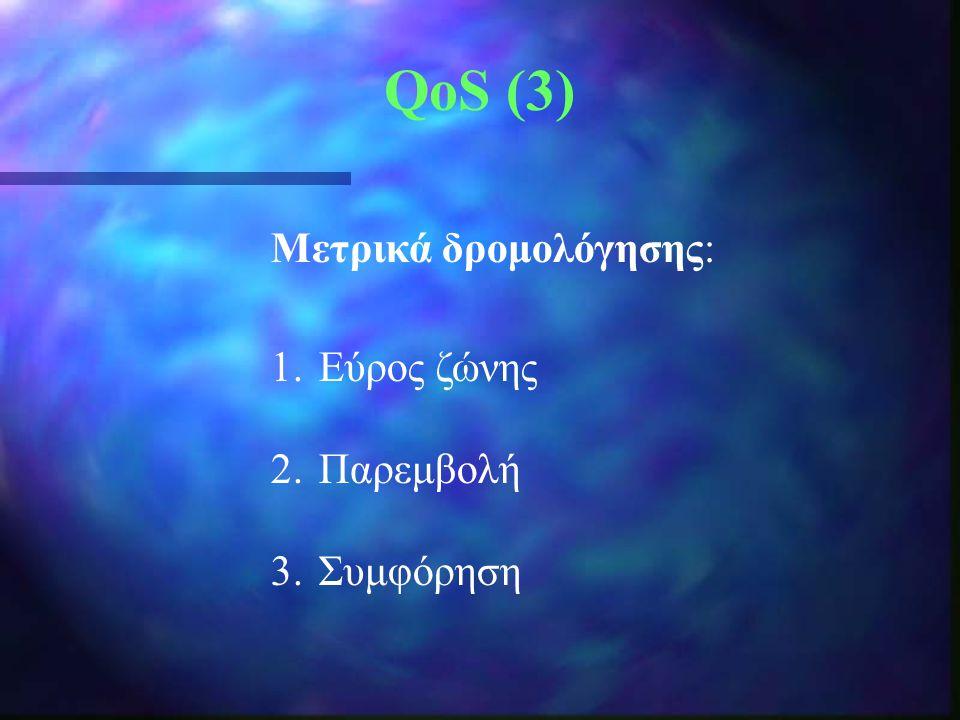 QoS (3) Μετρικά δρομολόγησης: 1.Εύρος ζώνης 2.Παρεμβολή 3.Συμφόρηση