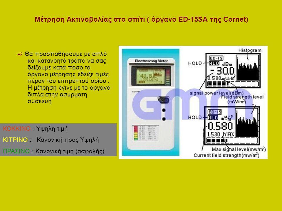 Μέτρηση Ακτινοβολίας στο σπίτι ( όργανο ED-15SA της Cornet)  Θα προσπαθήσουμε με απλό και κατανοητό τρόπο να σας δείξουμε κατά πόσο το όργανο μέτρησης έδειξε τιμές πέραν του επιτρεπτού ορίου.