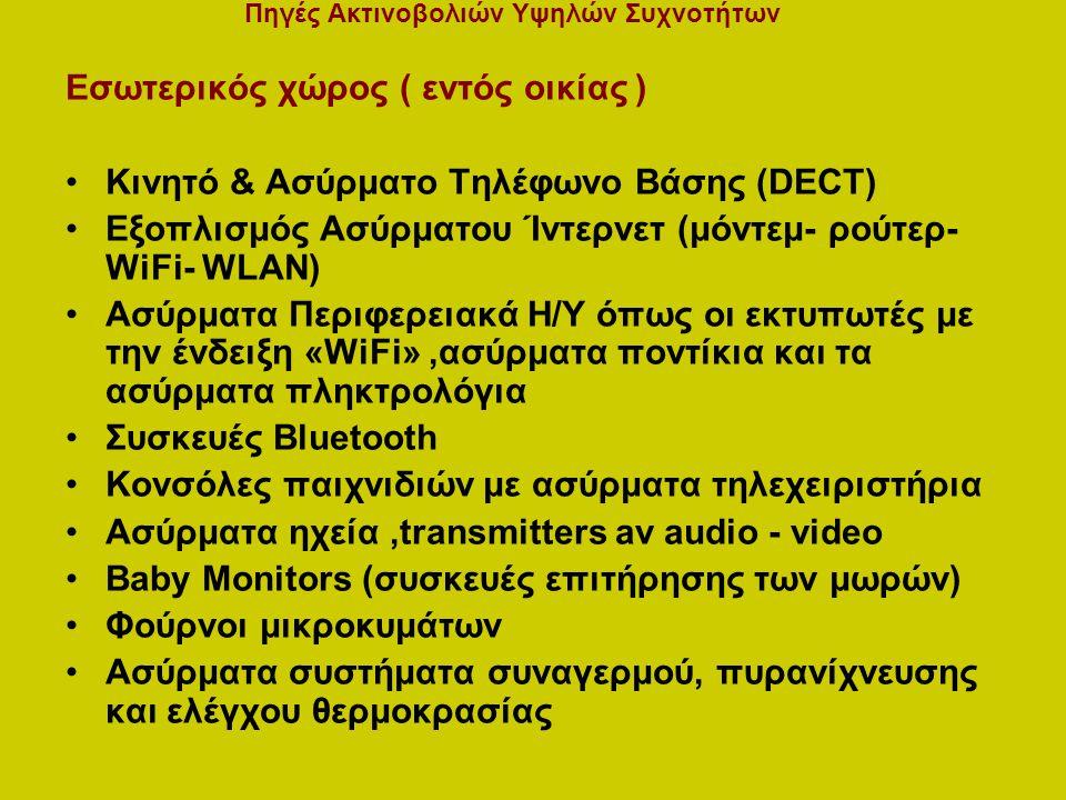 Εσωτερικός χώρος ( εντός οικίας ) Κινητό & Ασύρματο Τηλέφωνο Βάσης (DECT) Εξοπλισμός Ασύρματου Ίντερνετ (μόντεμ- ρούτερ- WiFi- WLAN) Ασύρματα Περιφερειακά Η/Υ όπως οι εκτυπωτές με την ένδειξη «WiFi»,ασύρματα ποντίκια και τα ασύρματα πληκτρολόγια Συσκευές Bluetooth Κονσόλες παιχνιδιών με ασύρματα τηλεχειριστήρια Ασύρματα ηχεία,transmitters av audio - video Baby Monitors (συσκευές επιτήρησης των μωρών) Φούρνοι μικροκυμάτων Ασύρματα συστήματα συναγερμού, πυρανίχνευσης και ελέγχου θερμοκρασίας Πηγές Ακτινοβολιών Υψηλών Συχνοτήτων