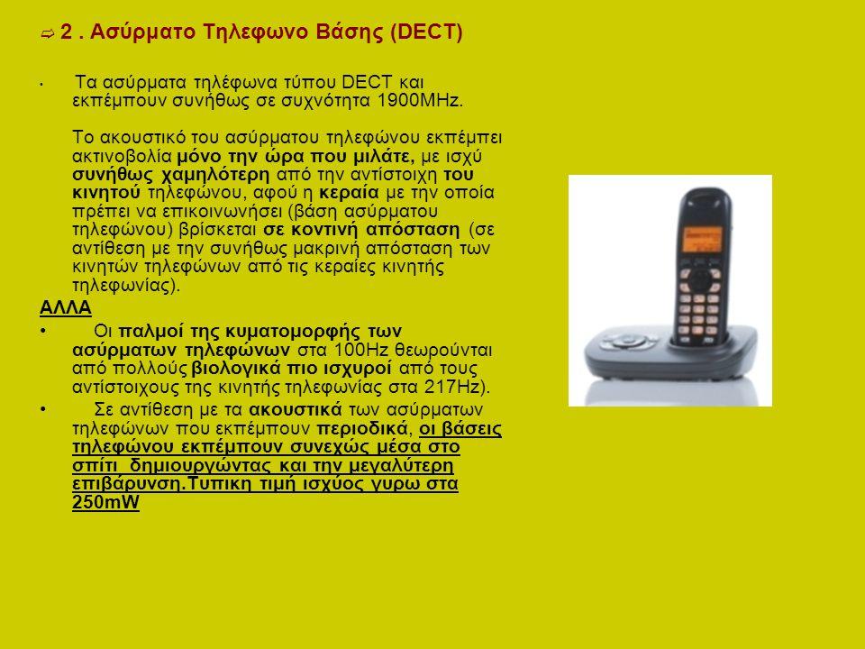  2. Ασύρματο Τηλεφωνο Βάσης (DECT) Τα ασύρματα τηλέφωνα τύπου DECT και εκπέμπουν συνήθως σε συχνότητα 1900ΜΗz. Το ακουστικό του ασύρματου τηλεφώνου ε