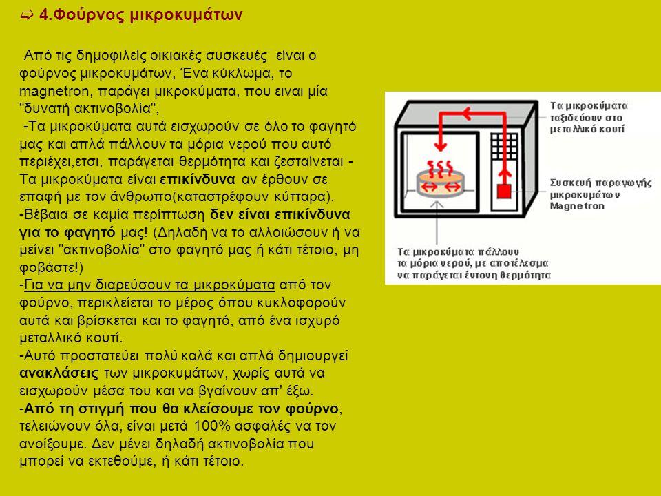  4.Φούρνος μικροκυμάτων Από τις δημοφιλείς οικιακές συσκευές είναι ο φούρνος μικροκυμάτων, Ένα κύκλωμα, το magnetron, παράγει μικροκύματα, που ειναι
