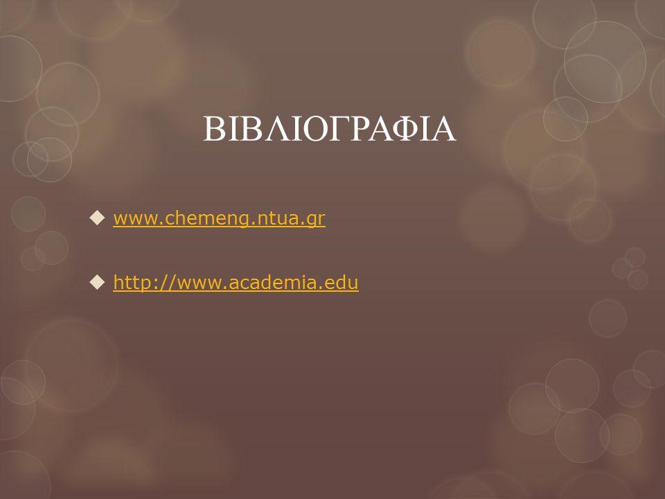 ΒΙΒΛΙΟΓΡΑΦΙΑ  www.chemeng.ntua.gr www.chemeng.ntua.gr  http://www.academia.edu http://www.academia.edu