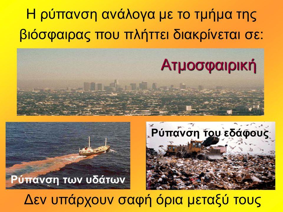 Η ρύπανση ανάλογα με το τμήμα της βιόσφαιρας που πλήττει διακρίνεται σε: Δεν υπάρχουν σαφή όρια μεταξύ τους Ατμοσφαιρική Ρύπανση των υδάτων Ρύπανση του εδάφους