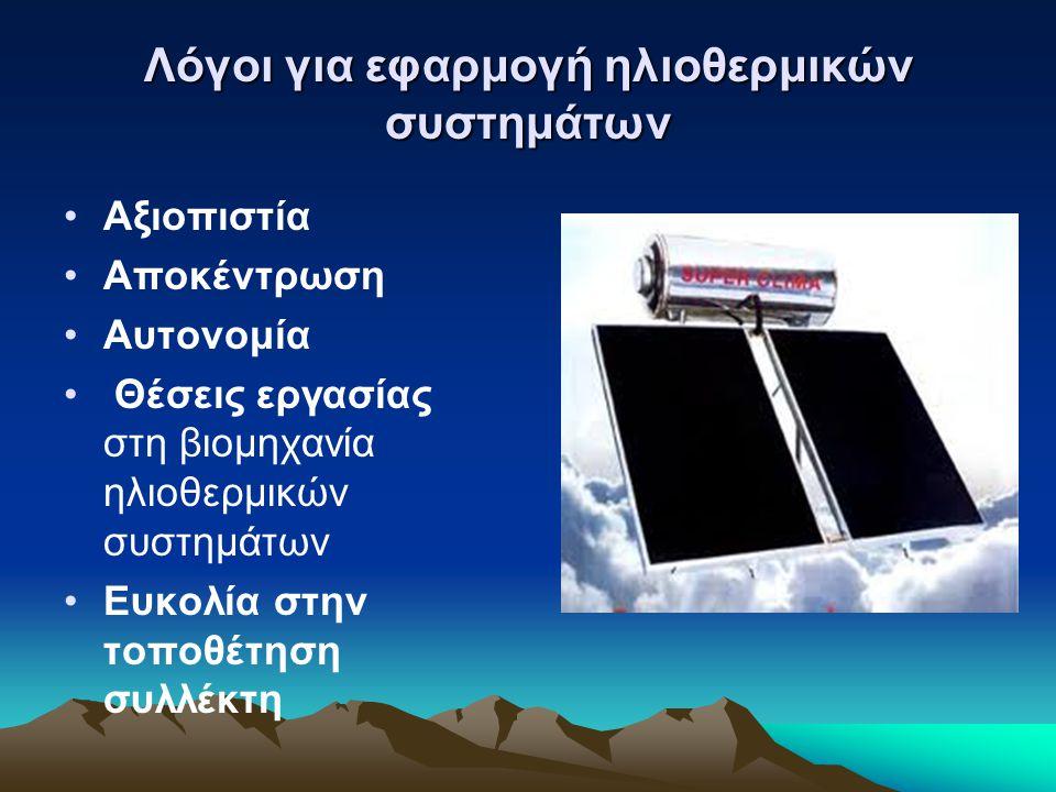 Λόγοι για εφαρμογή ηλιοθερμικών συστημάτων Εξοικονόμηση χρημάτων (Το μέσο ετήσιο κέρδος του μπορεί να φτάσει έως 100 € περίπου) Εξοικονόμηση ενέργειας.