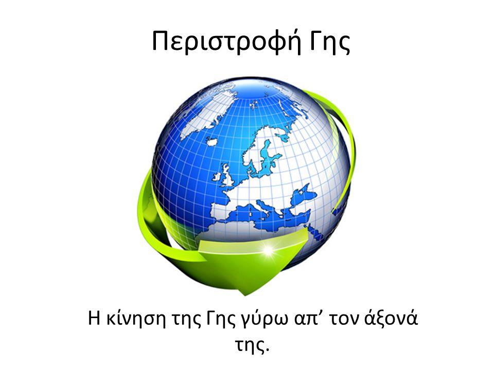 Περιστροφή Γης Η κίνηση της Γης γύρω απ' τον άξονά της.