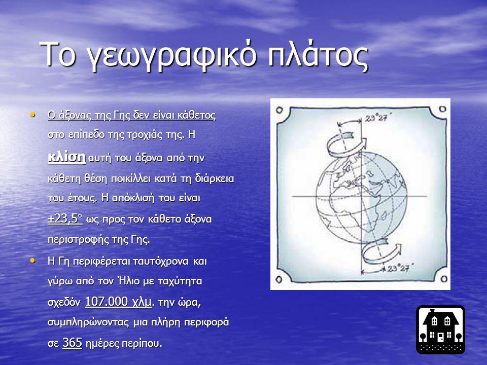 Οι διαστάσεις της Γης είναι: Ακτίνα στον Ισημερινό: 6.378 χλμ. Ακτίνα πολική: 6.356 χλμ. Περίμετρος στον Ισημερινό: 40.075 χλμ. Περίμετρος τροπικών: 3