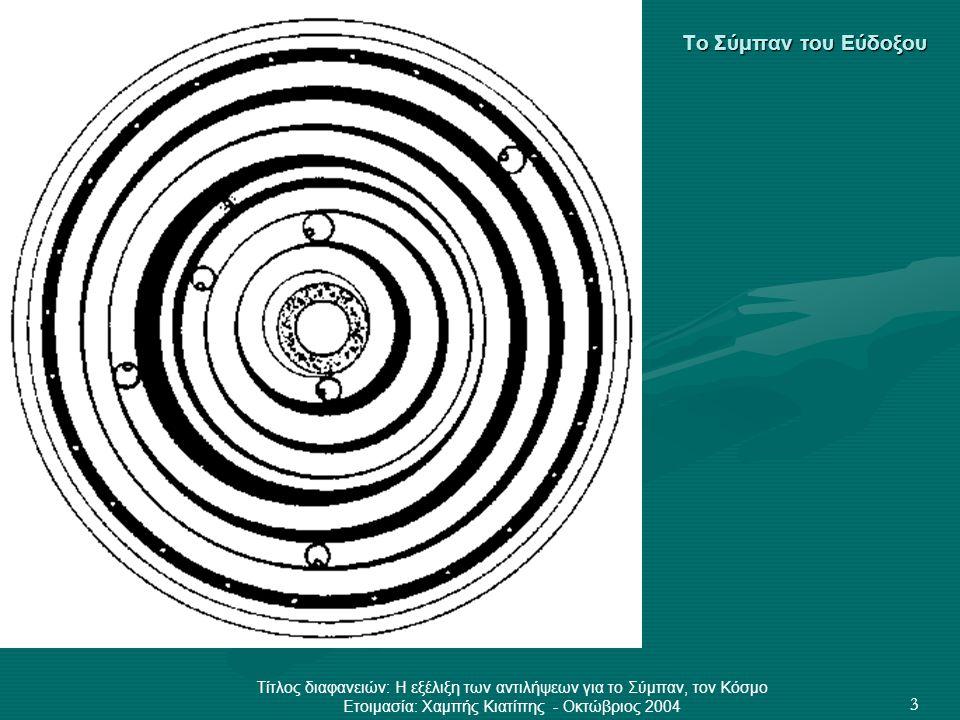 Τίτλος διαφανειών: Η εξέλιξη των αντιλήψεων για το Σύμπαν, τον Κόσμο Ετοιμασία: Χαμπής Κιατίπης - Οκτώβριος 2004 3 Το Σύμπαν του Εύδοξου