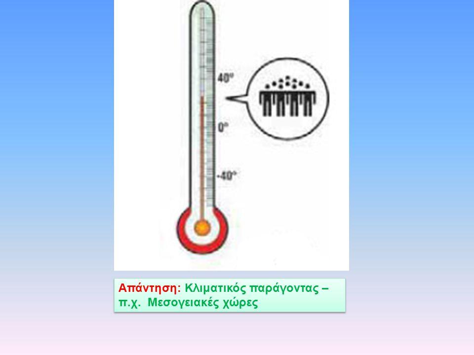 Απάντηση: Κλιματικός παράγοντας – π.χ. Μεσογειακές χώρες
