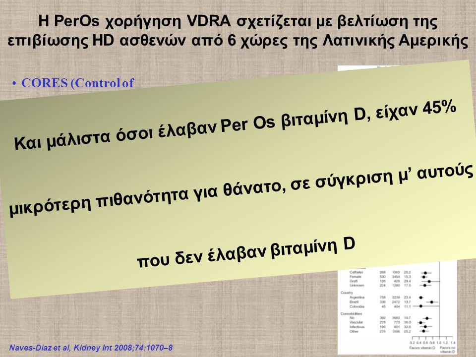 Η PerOs χορήγηση VDRA σχετίζεται με βελτίωση της επιβίωσης HD ασθενών από 6 χώρες της Λατινικής Αμερικής Naves-Diaz et al, Kidney Int 2008;74:1070–8 CORES (Control of Renal Osteodystrophy in South America) Argentina, Brazil, Columbia, Chile, Mexico and Venezuela Από Ιαν 2000-Ιουν 2004, μελέτη που περιέλαβε 16.004 HD ασθενείς 012345 0.5 0.6 0.7 0.8 0.9 1.0 Χρόνια παρακολούθησης Επιβίωση No VDRA Oral VDRA p<0.001 Και μάλιστα όσοι έλαβαν Per Os βιταμίνη D, είχαν 45% μικρότερη πιθανότητα για θάνατο, σε σύγκριση μ' αυτούς που δεν έλαβαν βιταμίνη D