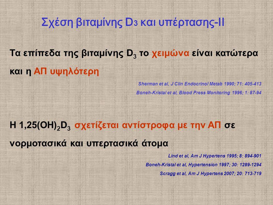 Τα επίπεδα της βιταμίνης D 3 το χειμώνα είναι κατώτερα και η ΑΠ υψηλότερη Sherman et al, J Clin Endocrinol Metab 1990; 71: 405-413 Boneh-Kristal et al, Blood Press Monitoring 1996; 1: 87-94 Η 1,25(ΟΗ) 2 D 3 σχετίζεται αντίστροφα με την ΑΠ σε νορμοτασικά και υπερτασικά άτομα Lind et al, Am J Hypertens 1995; 8: 894-901 Boneh-Kristal et al, Hypertension 1997; 30: 1289-1294 Scragg et al, Am J Hypertens 2007; 20: 713-719 Σχέση βιταμίνης D 3 και υπέρτασης-ΙΙ