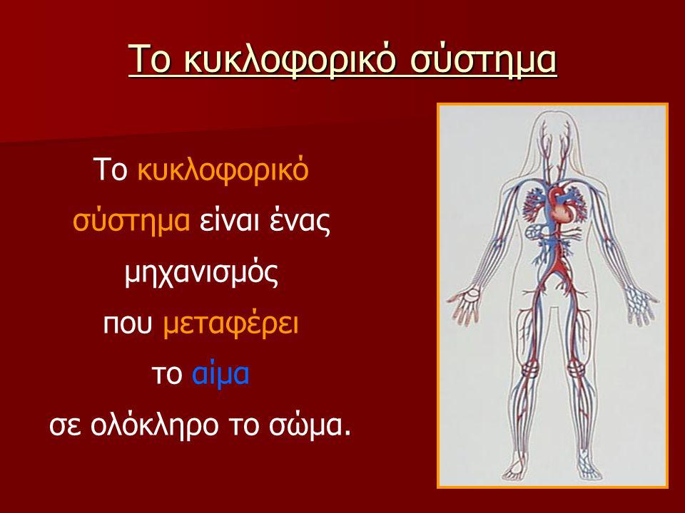 Το κυκλοφορικό σύστημα Το κυκλοφορικό σύστημα είναι ένας μηχανισμός που μεταφέρει το αίμα σε ολόκληρο το σώμα.