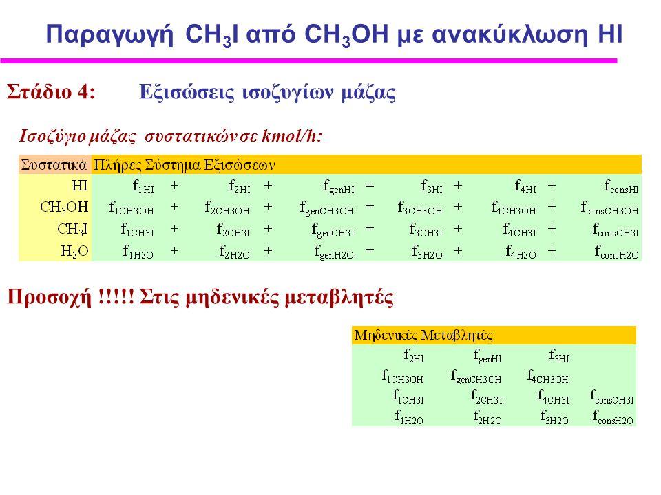 Στάδιο 4: Εξισώσεις ισοζυγίων μάζας Iσοζύγιο μάζας συστατικών σε kmol/h: Προσοχή !!!!.