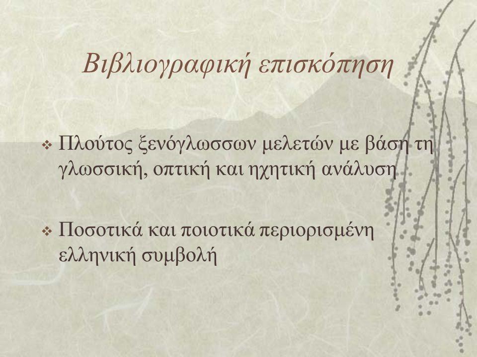 Βιβλιογραφική επισκόπηση  Πλούτος ξενόγλωσσων μελετών με βάση τη γλωσσική, οπτική και ηχητική ανάλυση  Ποσοτικά και ποιοτικά περιορισμένη ελληνική σ