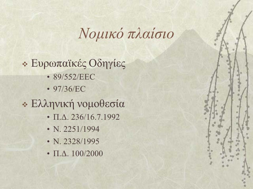 Νομικό πλαίσιο  Ευρωπαϊκές Οδηγίες 89/552/EEC 97/36/EC  Ελληνική νομοθεσία Π.Δ. 236/16.7.1992 Ν. 2251/1994 Ν. 2328/1995 Π.Δ. 100/2000