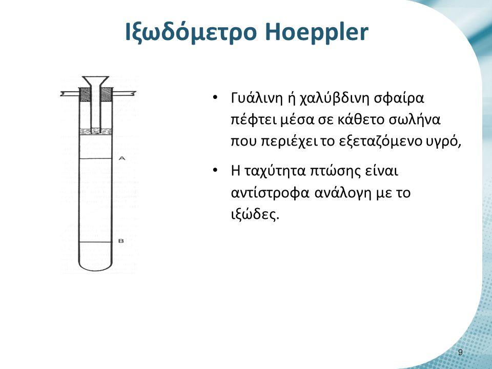 Iξωδόμετρο Ηοeppler Γυάλινη ή χαλύβδινη σφαίρα πέφτει μέσα σε κάθετο σωλήνα που περιέχει το εξεταζόμενο υγρό, Η ταχύτητα πτώσης είναι αντίστροφα ανάλο