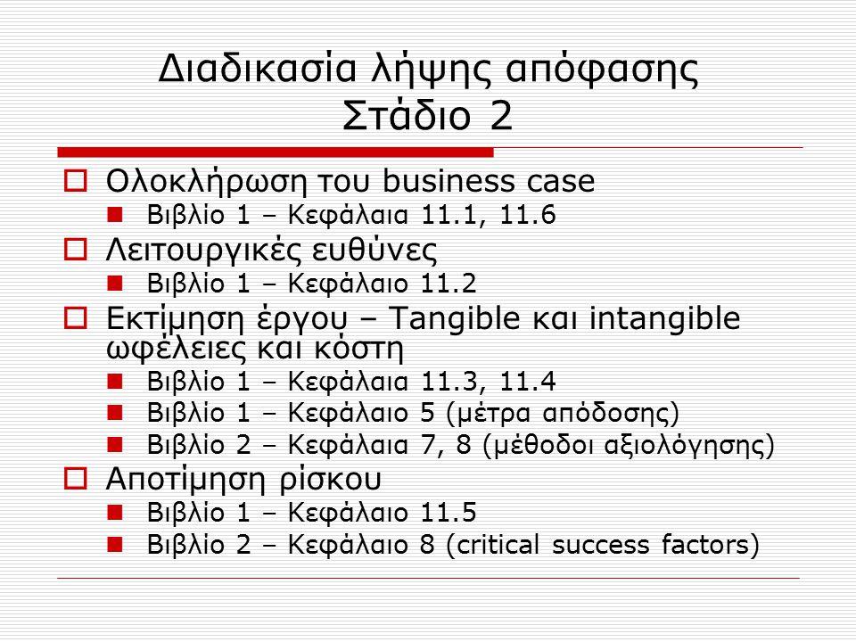 Διαδικασία λήψης απόφασης Στάδιο 2  Ολοκλήρωση του business case Βιβλίο 1 – Κεφάλαια 11.1, 11.6  Λειτουργικές ευθύνες Βιβλίο 1 – Κεφάλαιο 11.2  Εκτ