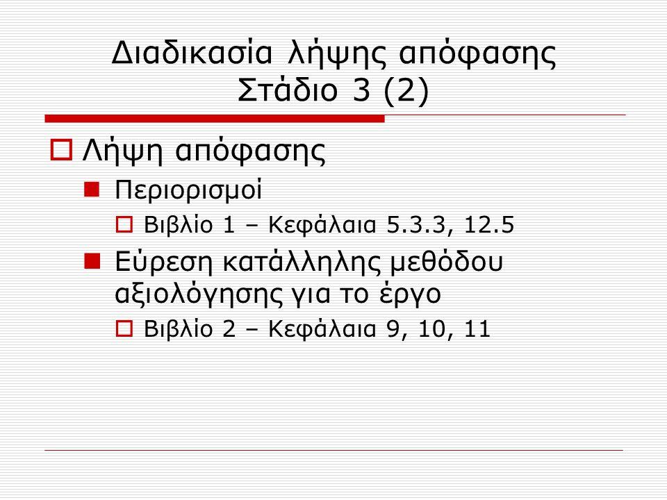 Διαδικασία λήψης απόφασης Στάδιο 3 (2)  Λήψη απόφασης Περιορισμοί  Βιβλίο 1 – Κεφάλαια 5.3.3, 12.5 Εύρεση κατάλληλης μεθόδου αξιολόγησης για το έργο