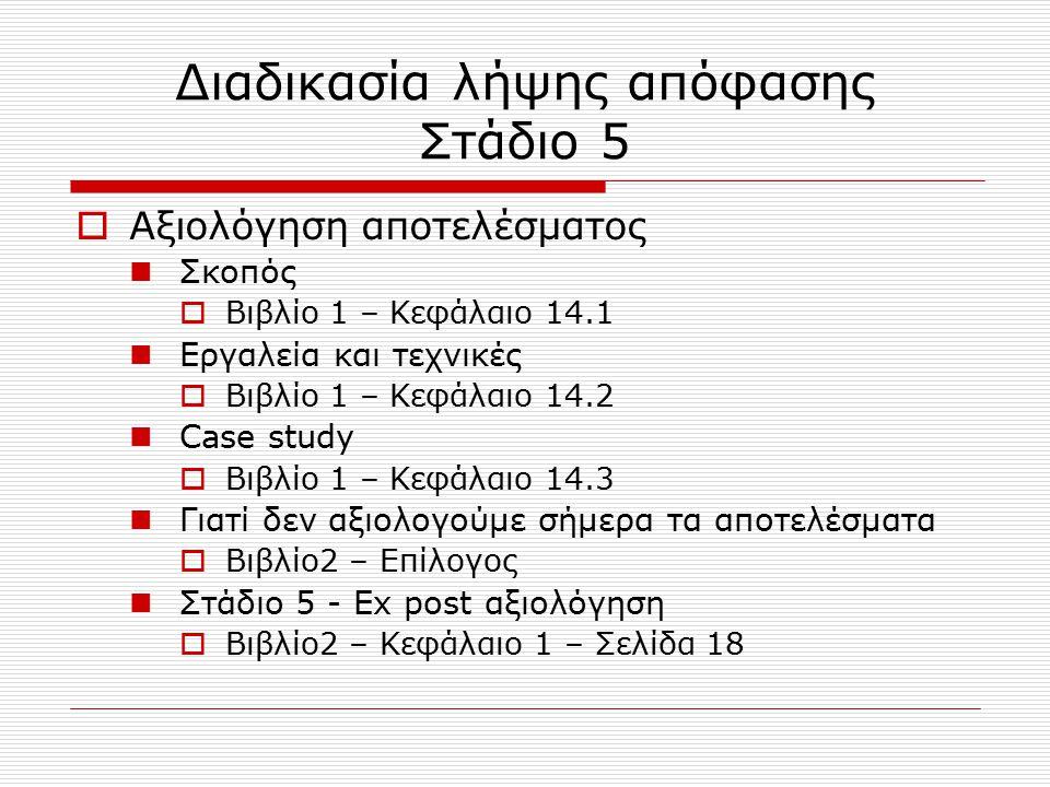 Διαδικασία λήψης απόφασης Στάδιο 5  Αξιολόγηση αποτελέσματος Σκοπός  Βιβλίο 1 – Κεφάλαιο 14.1 Εργαλεία και τεχνικές  Βιβλίο 1 – Κεφάλαιο 14.2 Case