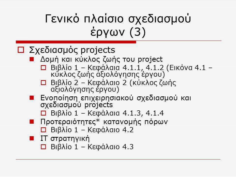 Γενικό πλαίσιο σχεδιασμού έργων (3)  Σχεδιασμός projects Δομή και κύκλος ζωής του project  Βιβλίο 1 – Κεφάλαια 4.1.1, 4.1.2 (Εικόνα 4.1 – κύκλος ζωή