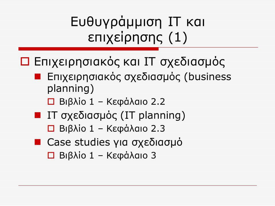 Ευθυγράμμιση IT και επιχείρησης (2)  Μέτρα απόδοσης πληροφοριακών συστημάτων* Μέτρα εξωτερικής απόδοσης  Βιβλίο 1 – Κεφάλαιο 5.1 Μέτρα εσωτερικής απόδοσης  Βιβλίο 1 – Κεφάλαιο 5.2 Αξιολόγηση σχεδιασμού και διαχείρισης IT  Βιβλίο 1 – Κεφάλαιο 5.3