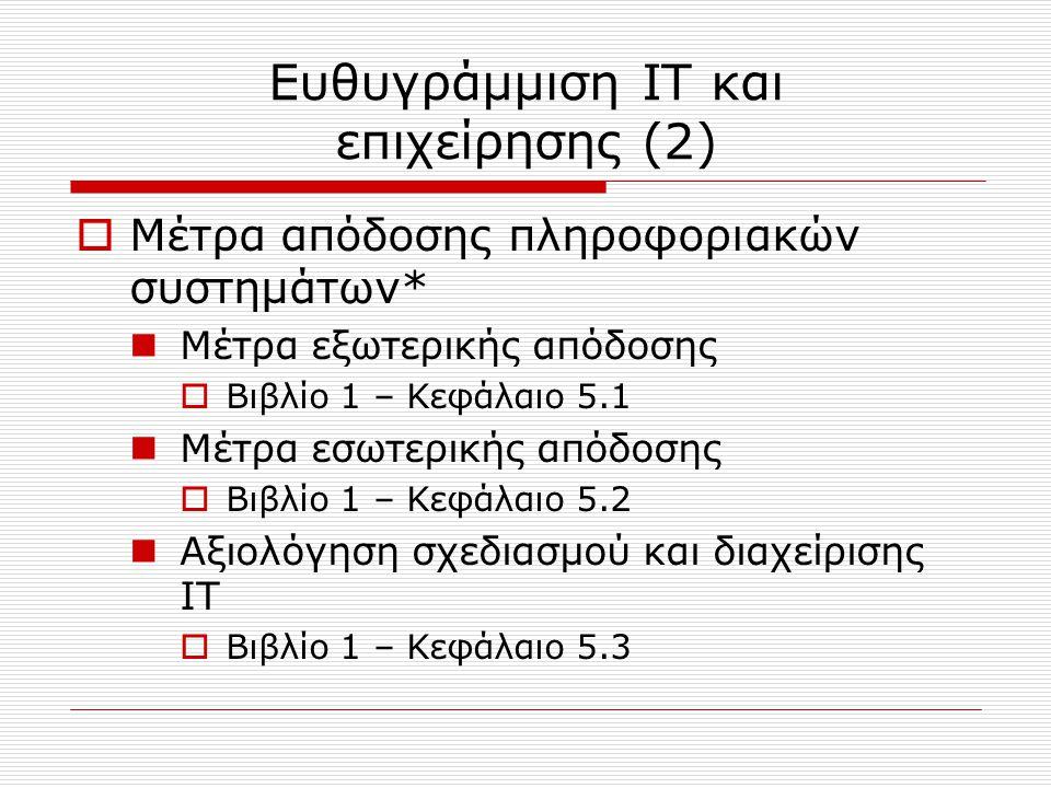 Ευθυγράμμιση IT και επιχείρησης (3)  Καθορισμός αξίας IT από ευθυγράμμιση με επιχειρησιακούς στόχους Ηγεσία ITD  Βιβλίο 1 – Κεφάλαιο 6.1 Ανάθεση κόστους IT σε τμήματα χρηστών  Βιβλίο 1 – Κεφάλαιο 6.2 Οργάνωση ITD  Βιβλίο 1 – Κεφάλαιο 6.3  Ευθυγράμμιση με ανταγωνιστικές στρατηγικές Βιβλίο 1 – Κεφάλαιο 7