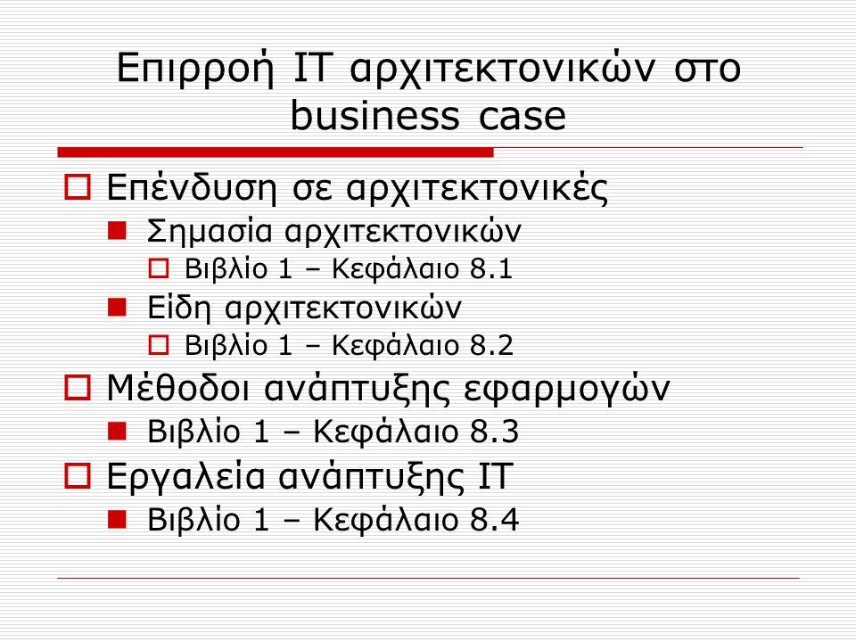 Μέθοδος κατασκευής business case  Σχεδιασμός αλλαγής Κρίσιμοι παράγοντες αλλαγής  Βιβλίο 1 – Κεφάλαιο 9.1.1  Βιβλίο 2 – Κεφάλαιο 10 (παράγοντες και περιβάλλον αξιολόγησης, χαρακτηριστικά επιχείρησης)  IT αρχιτεκτονική Σχεδιασμός του business case (μέθοδος της IBM)  Βιβλίο 1 – Κεφάλαιο 9.1.2  Στάδια κατασκευής business case Βιβλίο 1 – Κεφάλαιο 9.2