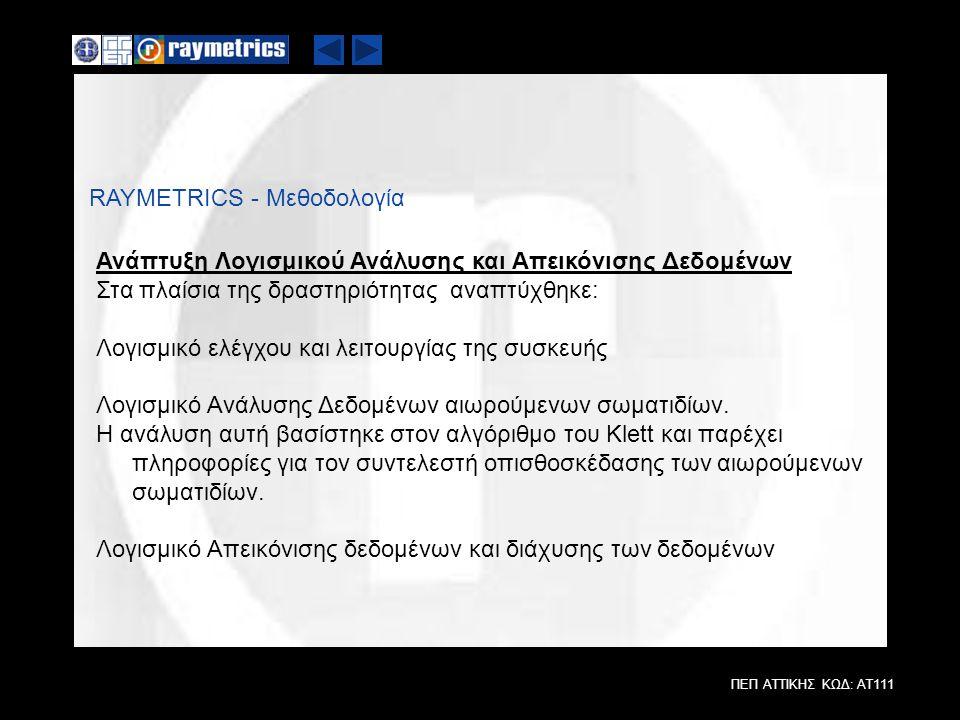 ΠΕΠ ΑΤΤΙΚΗΣ ΚΩΔ: ΑΤ111 RAYMETRICS - Μεθοδολογία Ανάπτυξη Λογισμικού Ανάλυσης και Απεικόνισης Δεδομένων Στα πλαίσια της δραστηριότητας αναπτύχθηκε: Λογ