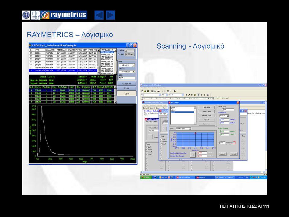ΠΕΠ ΑΤΤΙΚΗΣ ΚΩΔ: ΑΤ111 RAYMETRICS – Λογισμικό Scanning - Λογισμικό