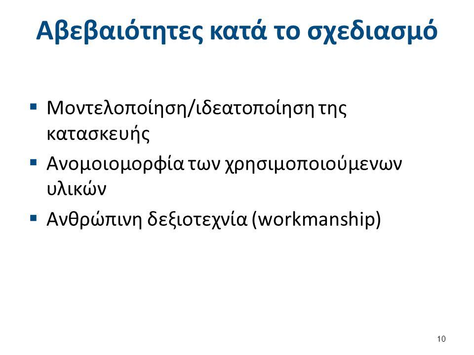 Αβεβαιότητες κατά το σχεδιασμό  Μοντελοποίηση/ιδεατοποίηση της κατασκευής  Ανομοιομορφία των χρησιμοποιούμενων υλικών  Ανθρώπινη δεξιοτεχνία (workmanship) 10