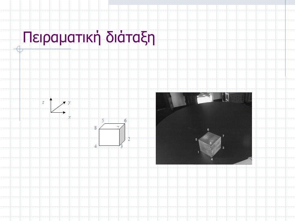 Πειραματική διάταξη 2 34 56 78 x yz