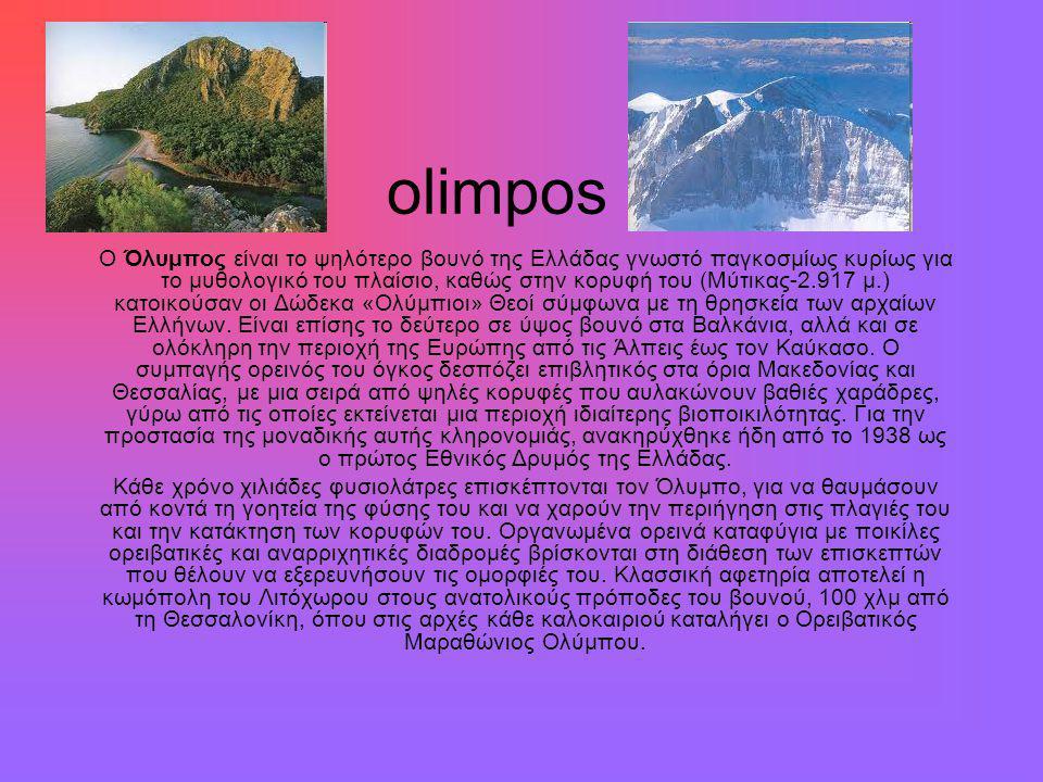 olimpos Ο Όλυμπος είναι το ψηλότερο βουνό της Ελλάδας γνωστό παγκοσμίως κυρίως για το μυθολογικό του πλαίσιο, καθώς στην κορυφή του (Μύτικας-2.917 μ.) κατοικούσαν οι Δώδεκα «Ολύμπιοι» Θεοί σύμφωνα με τη θρησκεία των αρχαίων Ελλήνων.