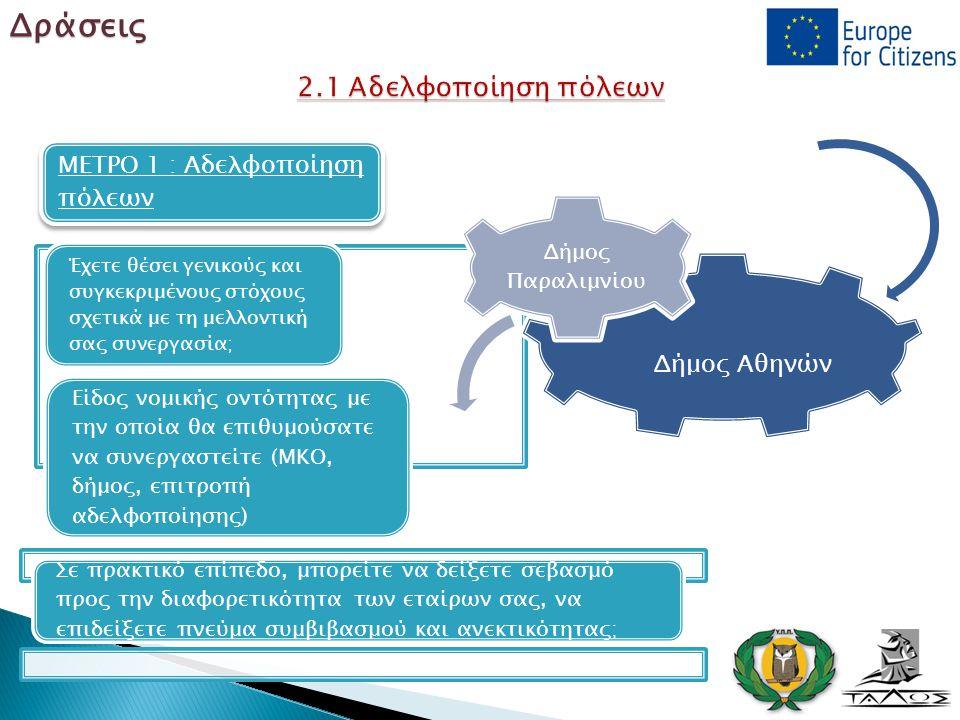 ΜΕΤΡΟ 1 : Αδελφοποίηση πόλεων Δήμος Αθηνών Δήμος Παραλιμνίου Έχετε θέσει γενικούς και συγκεκριμένους στόχους σχετικά με τη μελλοντική σας συνεργασία;