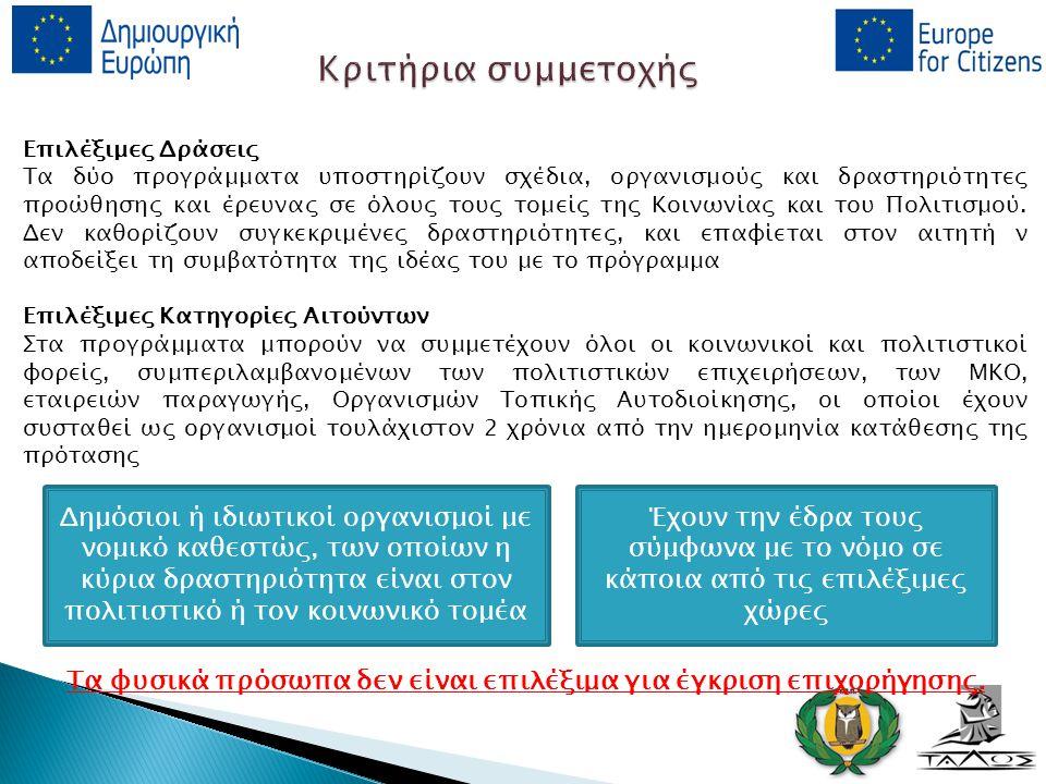 Δράσεις Ευρωπαϊκές Πλατφόρμες Οι στόχοι των Ευρωπαϊκών Πλατφορμών είναι:  η προώθηση της ανάπτυξης νεοεμφανιζόμενων ταλέντων και η τόνωση της διακρατικής κυκλοφορίας των έργων και  η συμβολή στην αύξηση της αναγνώρισης και της προβολής των καλλιτεχνών και των δημιουργών  Έχουν ως προτεραιότητα τη προώθηση της κινητικότητας και της προβολής των δημιουργών και των καλλιτεχνών, ιδίως των πρωτοεμφανιζόμενων και όσων δεν διαθέτουν διεθνή προβολή, τη διευκόλυνση της πρόσβασης σε μη εγχώρια ευρωπαϊκά πολιτιστικά έργα μέσω διεθνών περιοδειών, εκδηλώσεων, φεστιβάλ και εκθέσεων Επιλέξιμες Πλατφόρμες  Συνεργασία μεταξύ 10 οργανισμών από 10 διαφορετικές χώρες  Ετήσια επιδότηση μέχρι τις 500 000 (μάξιμουμ 60 χιλιάδες ανά εταίρο).