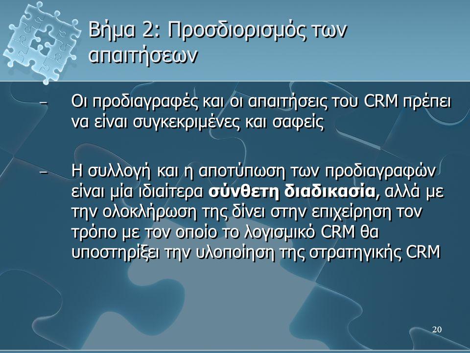 20 Βήμα 2: Προσδιορισμός των απαιτήσεων – Οι προδιαγραφές και οι απαιτήσεις του CRM πρέπει να είναι συγκεκριμένες και σαφείς – Η συλλογή και η αποτύπωση των προδιαγραφών είναι μία ιδιαίτερα σύνθετη διαδικασία, αλλά με την ολοκλήρωση της δίνει στην επιχείρηση τον τρόπο με τον οποίο το λογισμικό CRM θα υποστηρίξει την υλοποίηση της στρατηγικής CRM – Οι προδιαγραφές και οι απαιτήσεις του CRM πρέπει να είναι συγκεκριμένες και σαφείς – Η συλλογή και η αποτύπωση των προδιαγραφών είναι μία ιδιαίτερα σύνθετη διαδικασία, αλλά με την ολοκλήρωση της δίνει στην επιχείρηση τον τρόπο με τον οποίο το λογισμικό CRM θα υποστηρίξει την υλοποίηση της στρατηγικής CRM