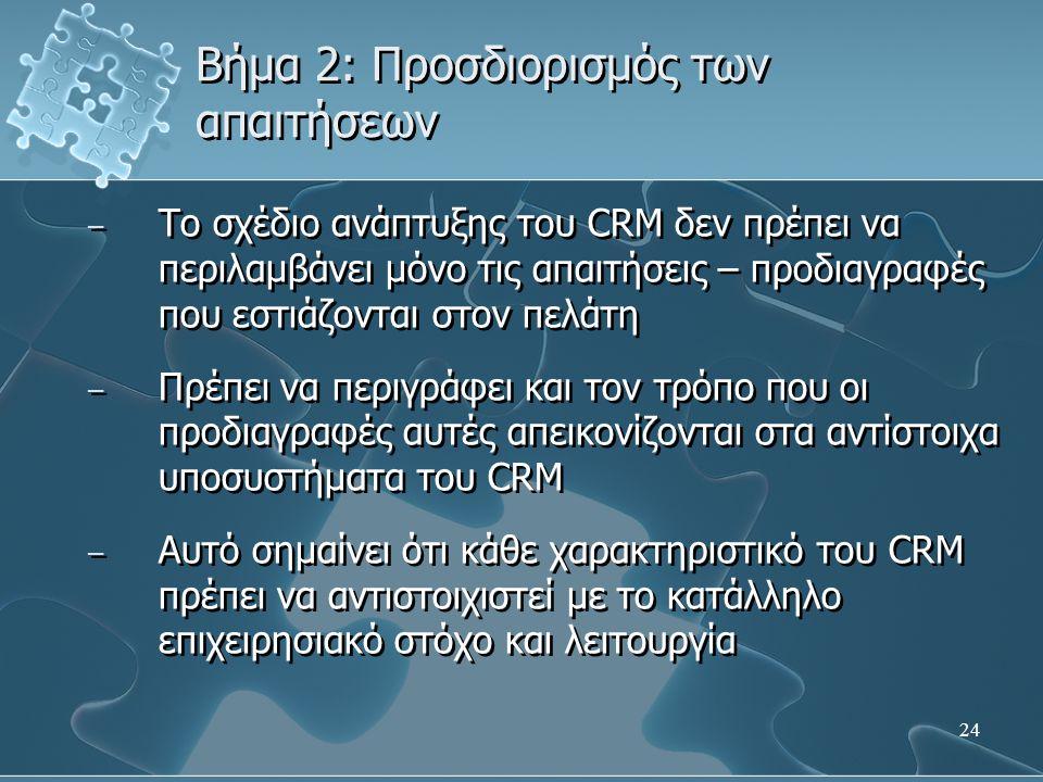24 Βήμα 2: Προσδιορισμός των απαιτήσεων – Το σχέδιο ανάπτυξης του CRM δεν πρέπει να περιλαμβάνει μόνο τις απαιτήσεις – προδιαγραφές που εστιάζονται στον πελάτη – Πρέπει να περιγράφει και τον τρόπο που οι προδιαγραφές αυτές απεικονίζονται στα αντίστοιχα υποσυστήματα του CRM – Αυτό σημαίνει ότι κάθε χαρακτηριστικό του CRM πρέπει να αντιστοιχιστεί με το κατάλληλο επιχειρησιακό στόχο και λειτουργία – Το σχέδιο ανάπτυξης του CRM δεν πρέπει να περιλαμβάνει μόνο τις απαιτήσεις – προδιαγραφές που εστιάζονται στον πελάτη – Πρέπει να περιγράφει και τον τρόπο που οι προδιαγραφές αυτές απεικονίζονται στα αντίστοιχα υποσυστήματα του CRM – Αυτό σημαίνει ότι κάθε χαρακτηριστικό του CRM πρέπει να αντιστοιχιστεί με το κατάλληλο επιχειρησιακό στόχο και λειτουργία