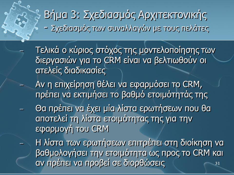 31 Βήμα 3: Σχεδιασμός Αρχιτεκτονικής - Σχεδιασμός των συναλλαγών με τους πελάτες – Τελικά ο κύριος στόχος της μοντελοποίησης των διεργασιών για το CRM είναι να βελτιωθούν οι ατελείς διαδικασίες – Αν η επιχείρηση θέλει να εφαρμόσει το CRM, πρέπει να εκτιμήσει το βαθμό ετοιμότητάς της – Θα πρέπει να έχει μία λίστα ερωτήσεων που θα αποτελεί τη λίστα ετοιμότητας της για την εφαρμογή του CRM – Η λίστα των ερωτήσεων επιτρέπει στη διοίκηση να βαθμολογήσει την ετοιμότητα ως προς το CRM και αν πρέπει να προβεί σε διορθώσεις – Τελικά ο κύριος στόχος της μοντελοποίησης των διεργασιών για το CRM είναι να βελτιωθούν οι ατελείς διαδικασίες – Αν η επιχείρηση θέλει να εφαρμόσει το CRM, πρέπει να εκτιμήσει το βαθμό ετοιμότητάς της – Θα πρέπει να έχει μία λίστα ερωτήσεων που θα αποτελεί τη λίστα ετοιμότητας της για την εφαρμογή του CRM – Η λίστα των ερωτήσεων επιτρέπει στη διοίκηση να βαθμολογήσει την ετοιμότητα ως προς το CRM και αν πρέπει να προβεί σε διορθώσεις