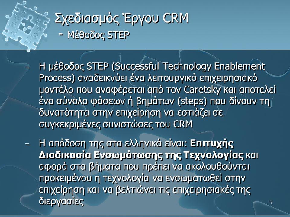 7 − Η μέθοδος STEP (Successful Technology Enablement Process) αναδεικνύει ένα λειτουργικό επιχειρησιακό μοντέλο που αναφέρεται από τον Caretsky και αποτελεί ένα σύνολο φάσεων ή βημάτων (steps) που δίνουν τη δυνατότητα στην επιχείρηση να εστιάζει σε συγκεκριμένες συνιστώσες του CRM − Η απόδοση της στα ελληνικά είναι: Επιτυχής Διαδικασία Ενσωμάτωσης της Τεχνολογίας και αφορά στα βήματα που πρέπει να ακολουθούνται προκειμένου η τεχνολογία να ενσωματωθεί στην επιχείρηση και να βελτιώνει τις επιχειρησιακές της διεργασίες − Η μέθοδος STEP (Successful Technology Enablement Process) αναδεικνύει ένα λειτουργικό επιχειρησιακό μοντέλο που αναφέρεται από τον Caretsky και αποτελεί ένα σύνολο φάσεων ή βημάτων (steps) που δίνουν τη δυνατότητα στην επιχείρηση να εστιάζει σε συγκεκριμένες συνιστώσες του CRM − Η απόδοση της στα ελληνικά είναι: Επιτυχής Διαδικασία Ενσωμάτωσης της Τεχνολογίας και αφορά στα βήματα που πρέπει να ακολουθούνται προκειμένου η τεχνολογία να ενσωματωθεί στην επιχείρηση και να βελτιώνει τις επιχειρησιακές της διεργασίες Σχεδιασμός Έργου CRM - Μέθοδος STEP