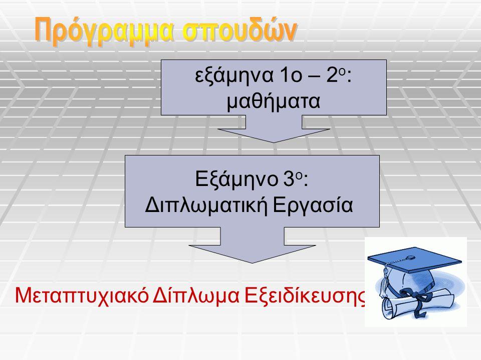 εξάμηνα 1ο – 2 ο : μαθήματα Μεταπτυχιακό Δίπλωμα Εξειδίκευσης Εξάμηνο 3 ο : Διπλωματική Εργασία