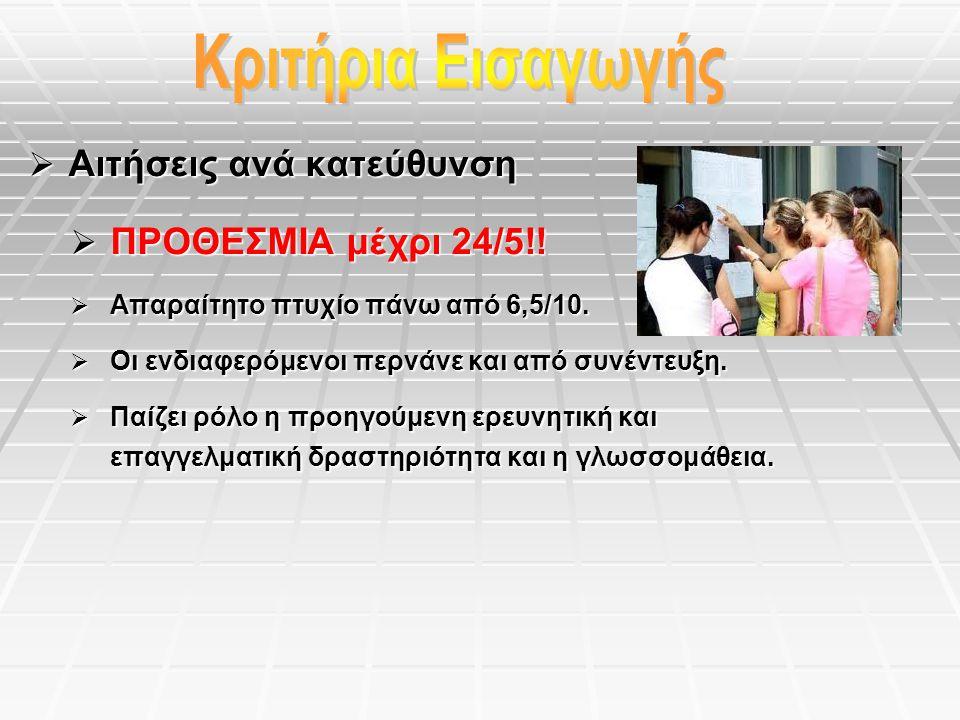  Αιτήσεις ανά κατεύθυνση  ΠΡΟΘΕΣΜΙΑ μέχρι 24/5!.