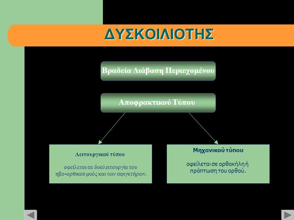 ΔΥΣΚΟΙΛΙΟΤΗΣ Βραδεία Διάβαση Περιεχομένου Αποφρακτικού Τύπου Μηχανικού τύπου οφείλεται σε ορθοκήλη ή πρόπτωση του ορθού. Λειτουργικού τύπου οφείλεται