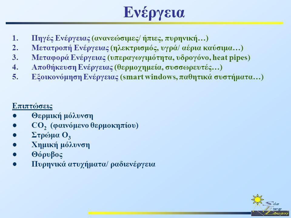 Ενέργεια 1.Πηγές Ενέργειας (ανανεώσιμες/ ήπιες, πυρηνική…) 2.Μετατροπή Ενέργειας (ηλεκτρισμός, υγρά/ αέρια καύσιμα…) 3.Μεταφορά Ενέργειας (υπεραγωγιμό
