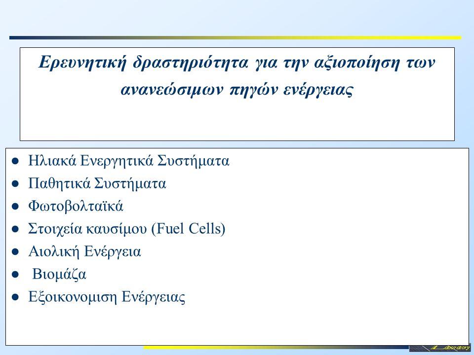 Ερευνητική δραστηριότητα για την αξιοποίηση των ανανεώσιμων πηγών ενέργειας ●Ηλιακά Ενεργητικά Συστήματα ●Παθητικά Συστήματα ●Φωτοβολταϊκά ●Στοιχεία κ