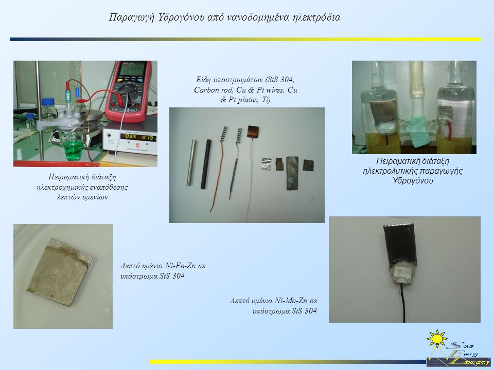 Παραγωγή Υδρογόνου από νανοδομημένα ηλεκτρόδια Πειραματική διάταξη ηλεκτρολυτικής παραγωγής Υδρογόνου Λεπτό υμένιο Ni-Fe-Zn σε υπόστρωμα StS 304 Πειρα