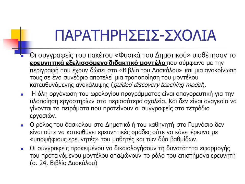 ΠΑΡΑΤΗΡΗΣΕΙΣ-ΣΧΟΛΙΑ Οι συγγραφείς του πακέτου «Φυσικά του Δημοτικού» υιοθέτησαν το ερευνητικά εξελισσόμενο διδακτικό μοντέλο που σύμφωνα με την περιγραφή που έχουν δώσει στο «Βιβλίο του Δασκάλου» και μια ανακοίνωση τους σε ένα συνέδριο αποτελεί μια τροποποίηση του μοντέλου κατευθυνόμενης ανακάλυψης (guided discovery teaching model).