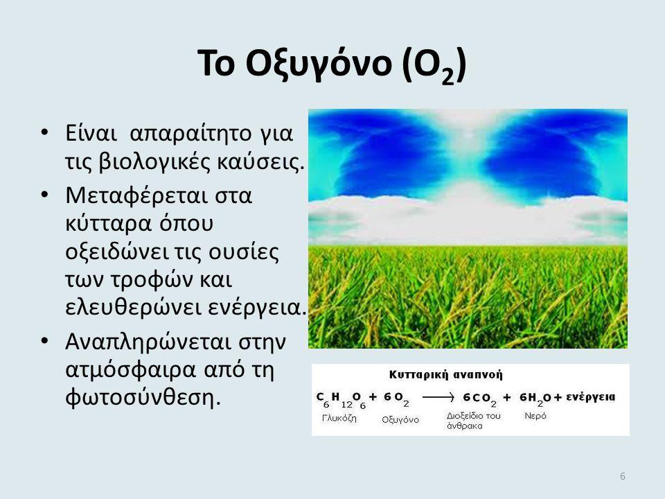 ΤΟ ΠΟΣΙΜΟ ΝΕΡΟ Μηχανικές διεργασίες Διήθηση για την απομάκρυνση μεγάλων σωματιδίων Διαύγαση με κροκίδωση για την απομάκρυνση μικρών σωματιδίων, τα οποία με προσθήκη Al 2 (SO 4 ) 3 καταβυθίζονται Χημικές διεργασίες Χλωρίωση με χλωριωμένες ενώσεις, για την αποστείρωση του νερού Οζοντισμός με προσθήκη οξυγόνου πλούσιου σε όζον, για την εξόντωση των μικροβίων Φθορίωση με προσθήκη φθοριούχων αλάτων, για την αποφυγή ανάπτυξης της τερηδόνας 16