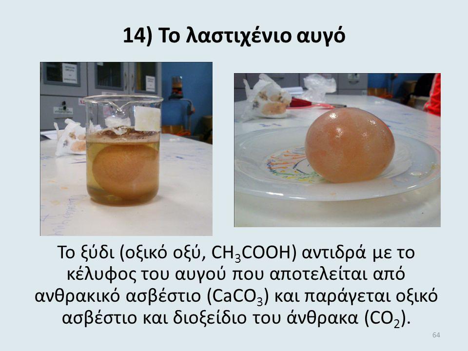 13) Η ''έκρηξη'' της σταγόνας Η σταγόνα Betadine δεν διαλύεται στο λάδι, διαλύεται όμως στο νερό. Έτσι διαπερνά το στρώμα λαδιού και μόλις έρθει σε επ