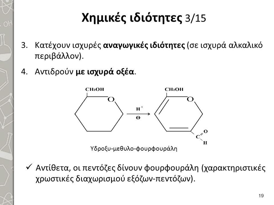 Χημικές ιδιότητες 3/15 3.Κατέχουν ισχυρές αναγωγικές ιδιότητες (σε ισχυρά αλκαλικό περιβάλλον). 4.Αντιδρούν με ισχυρά οξέα. 19 Υδροξυ-μεθυλο-φουρφουρά