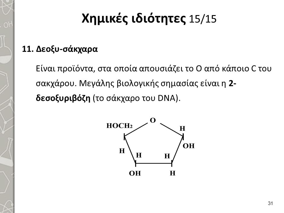 Χημικές ιδιότητες 15/15 11.Δεοξυ-σάκχαρα Είναι προϊόντα, στα οποία απουσιάζει το Ο από κάποιο C του σακχάρου. Μεγάλης βιολογικής σημασίας είναι η 2- δ