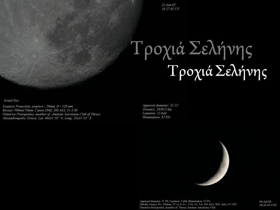 Η τροχιά της Σελήνης Η Σελήνη περιφέρεται γύρω από τη γη με την ίδια φορά που η γη περιφέρεται γύρω από τον ήλιο.
